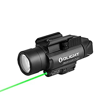 OLIGHT Baldr Pro 1350 Lumens Tactical Weaponlight with Green Light and White LED 260 Meters Beam Distance Compatible with 1913 or GL Rail Powered by 2 x CR123A Batteries  Black