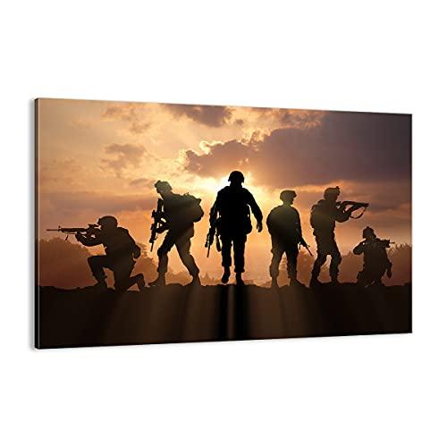 Cuadro sobre lienzo - Impresión de Imagen - Ejército armas sol militar - 120x80cm - Imagen Impresión - Cuadros Decoracion - Impresión en lienzo - Cuadros Modernos - Lienzo Decorativo - AA120x80-2962