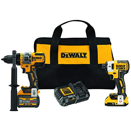 DEWALT DCK2100D1T1 20V MAX Brushless Cordless 2-Tool Kit Including Hammer Drill/Driver with FLEXVOLT Advantage