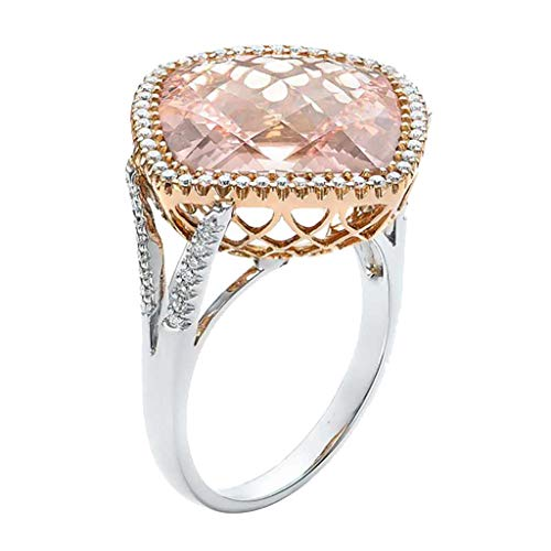 Goddesslili Pink Diamond Rings for Women Girlfriend Girls Champagne Hollow Luxurious Elegant Large Vintage Wedding Engagement Anniversary Simple Jewelry Gift Under 5 Dollars (10)