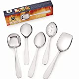 Premium 5 Piece Stainless Steel Cooking & Serving Spoon Set, Includes Solid Spoon, Oval Spoon,...