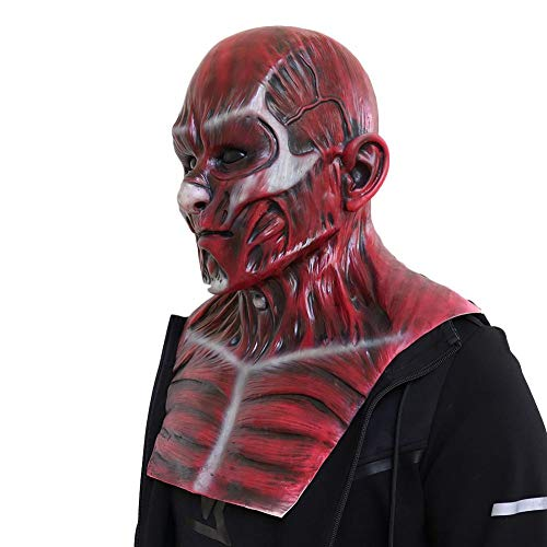 iBoosila Enthäutete Frank Hood Red Skull Rote Haut Horror Latex Hood Halloween Kostüm Cosplay Requisiten