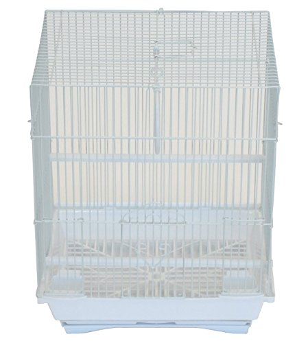 "YML A1324MWHT Flat Top Medium Parakeet Cage, 13.3"" x 10.8"" x 16.5"", White"