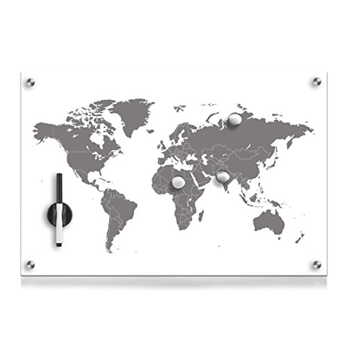 Zeller 11673 Memobord Worldmap, Glas, ca. 60 x 40 x 2 cm