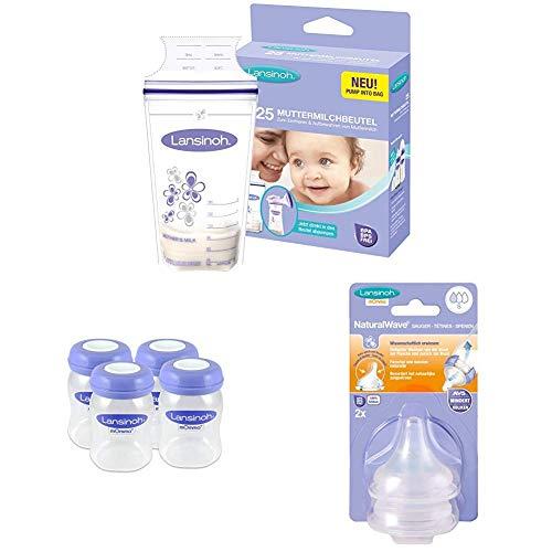 Lansinoh Muttermilchbeutel, 25 Stück + Muttermilchflaschen (Weithals), 4 Stück + 2 Stück NaturalWave Sauger, Gr. S, langsamer Fluss