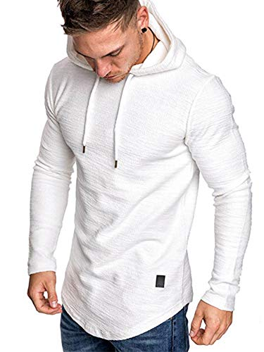 Uni Clau Mens Casual Fashion Athletic Hoodies Sport Sweatshirt Workout Fleece Pullover White