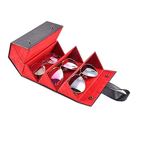 BAODANBA Occhiali da Sole in Pelle Pieghevoli a 5 Slot Occhiali da Vista Portaoggetti da Viaggio Contenitore per Occhiali Contenitore per Esposizione Multiplo