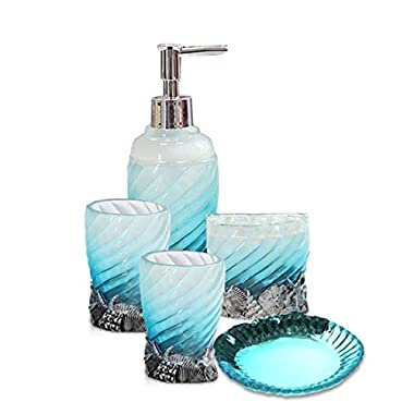 Creative 5-Piece Polyresin Bathroom Essentials Accessory Set, Hotsan Bath Ensemble Accessories Set Collection for Indoor Use with Soap Dispenser Pump,Toothbrush Holder, 2 Tumblers, Soap Dish