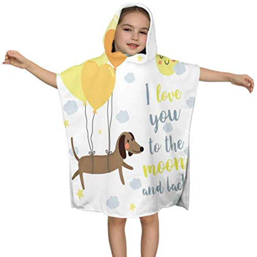 """Ahuimin Love You Kids Hooded Beach Bath Towel, Dog with Balloons and Concept Hearts Sun Clouds Puppy Best Friends, 24"""" x 24"""" Hooded Bath Towel for Girls Boys, Children's Bathrobe"""