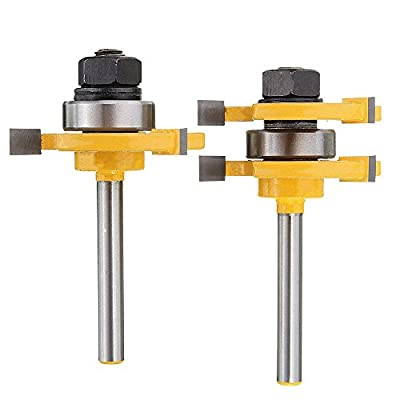 2Pcs Tongue and Groove Router Bits Set, Adjustable 3 Teeth T Shape Wood Milling Cutter Joinery Bits, Woodworking Tools for Flooring Cabinet Door