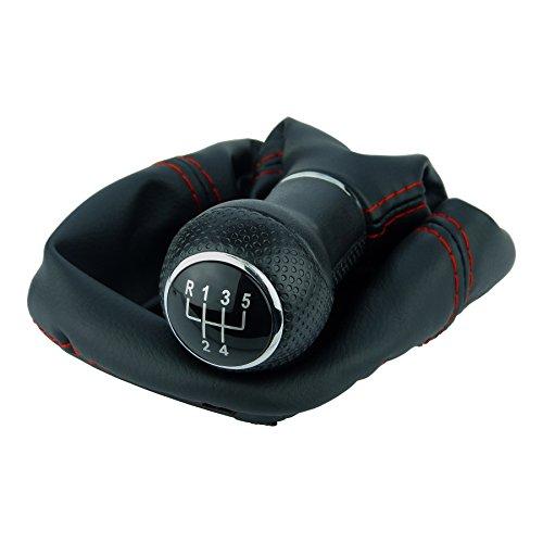 L & P Car Design L&P A252-0 Schaltsack Schaltmanschette Schwarz Naht Rot GTI Look Schaltknauf 5 Gang 23mm kompatibel mit VW Golf 4 IV Rahmen Knauf Plug Play Ersatzteil für 1J0711113