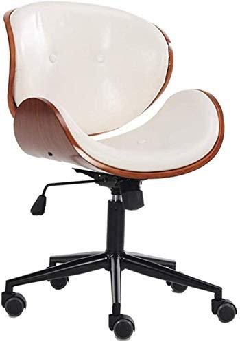HJW Silla de oficina ergonómica con cojín grueso de altura ajustable fácil de limpiar, color blanco
