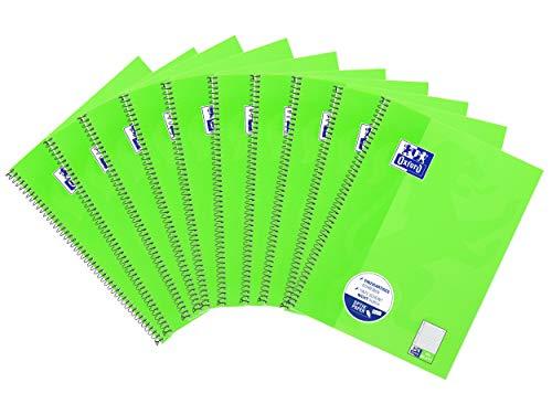 Oxford Schule Collegeblock A4, liniert mit einem Rand links, 80 Blatt, hellgrün, 10er Pack