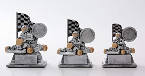 Henecka Motorsport Kart-Pokal, Resinfigur Motorsport Kart, Silber mit Gold, mit Wunschgravur und auswählbarem Sport-Emblem, Größe 9,6 cm