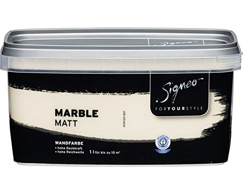 Signeo Bunte Wandfarbe, MARBLE, Vanille, matt, elegant-matte Oberflächen, Innenfarbe, 1 Liter