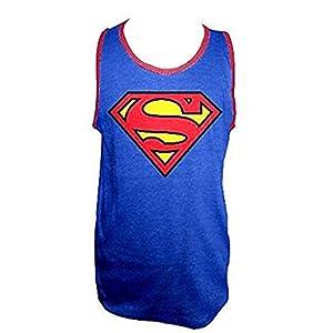 TV Store メンズ DCコミックススーパーマンのロゴアダルト青Tシャツタンクトップ(アダルト)