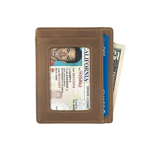 Andar Leather Slim Wallet with ID Window, Minimalist Front Pocket RFID Blocking Card Holder Made of Full Grain Leather - The Freeman (Caramel Tan)