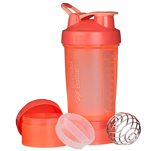 BlenderBottle ProStak Full Color Botella de Agua y Accesorios, Unisex Adulto, Coral, 650 ml