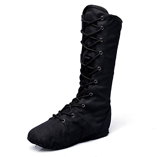 MSMAX Adult Dance Boot Lace up Ballet Jazz Sneakers Black 6.5 M US Women