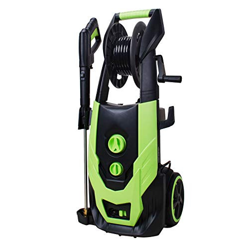 Workmoto Pressure Washer with Brush Motor,Portable Washer with 5 Interchangeable Nozzles and Total Stop System,Electric Power Washer with Hose Reel -...