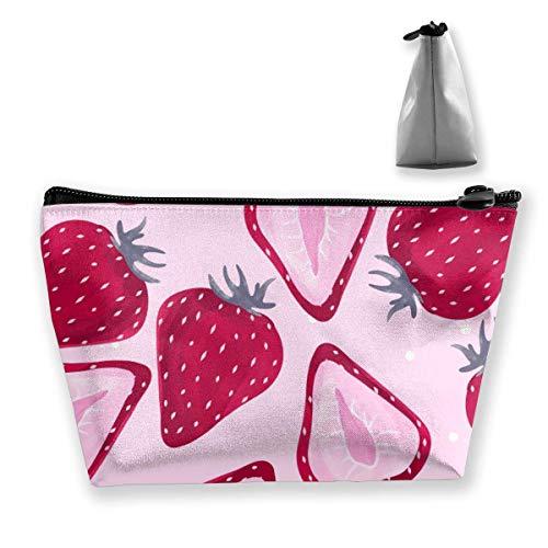 Trousse de maquillage portable avec fermeture éclair Motif fraise Rose Rouge