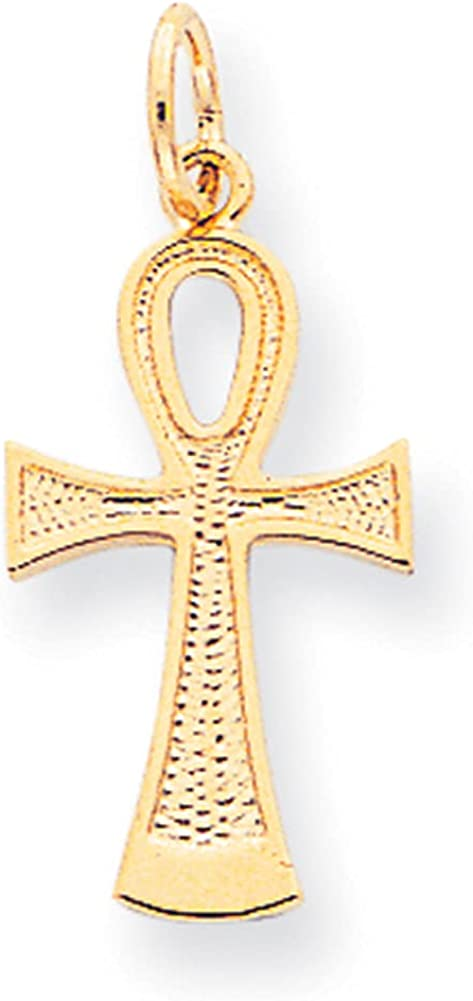 Lex & Lu 10k Yellow Gold Solid Flat-Backed Ankh/Egyptian Cross Pendant