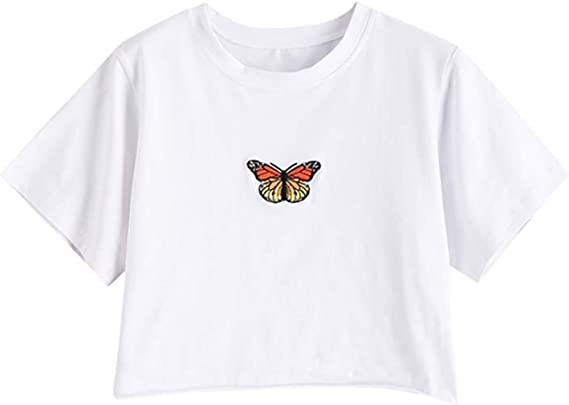 cute cropped t-shirt with butterfly Bella hadid
