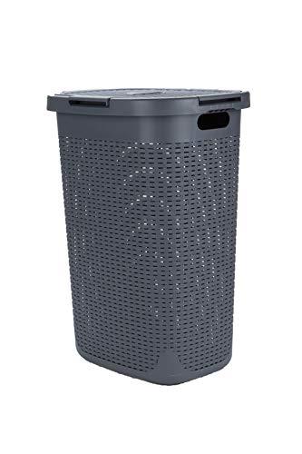 Mind Reader Basket with Cutout Handles, Washing Bin, Dirty Clothes Storage, Bathroom, Bedroom, Closet, Gray 50 Liter Laundry Hamper