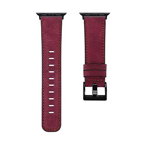 Correa de cuero vintage de piel de vaca para Apple Watch Band para Iwatch 1/2/3 38 mm 42 mm Iwatch 4/5 40 44 mm Correa de reloj Accesorios de pulsera-Rosa rojo, para 38 mm y 40 mm