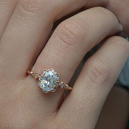 XIALV Vintage Rose Gold Oval Cubic Zirconia Wave Edge Women's Fashion Wedding Engagement Ring Anniversary Jewelry Gift (US code 10)