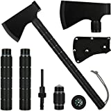 iunio Survival Axe, Camping Hatchet with Sheath, Multitool, Camp Ax Gear, Folding Portable Tools, for Hiking, Backpacking, Emergency, Hunting, Outdoor (Black)