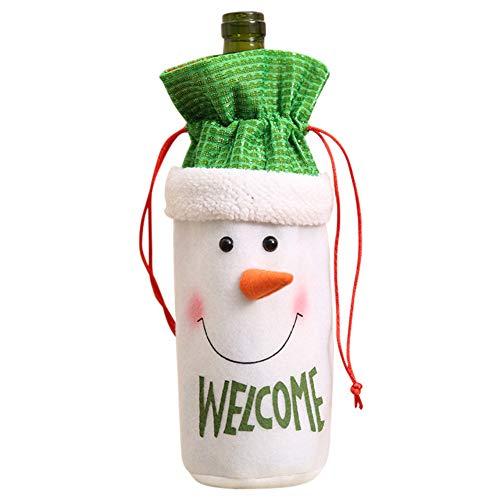 Drasawee Weinflaschen-Abdeckung, Tasche, Esstisch, Dekoration, Weihnachten, Festival, Party, Ornamente, Schneemann
