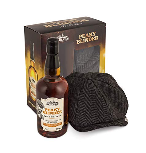 Peaky Blinder Whiskey Gift Set with a Gasby Style Cap in a Gift Box, 70 cl