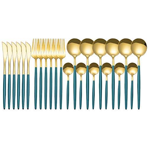 Juego de cubiertos de espejo dorado de 24 piezas, juego de vajilla de acero inoxidable, cubertería dorada apta para lavavajillas, tenedor, cuchara de café, cuchillo para queso, servicio de ensalada