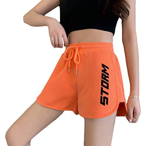 Fainash Pantalones Cortos Deportivos con Cintura elástica para Mujer Moda Relajada Tendencia Estampada Pantalones Cortos básicos cómodos para Correr L