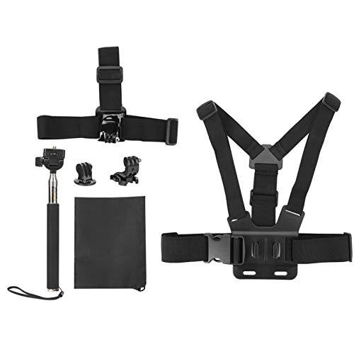 Kit de Accesorios de cámara de acción Universal portátil 5 en 1 para cámaras Deportivas Gopro Soporte de Correa para la Cabeza/arnés de Pecho/Palo para Selfies