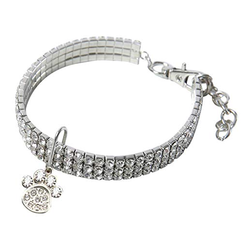 Smniao Hundehalsband Haustier Halsbänder Strass Hundepfote Geformt Halskette Haustierzubehör Hund Halsband für Kleine Hunde Katzen Welpen (L, Weiß)