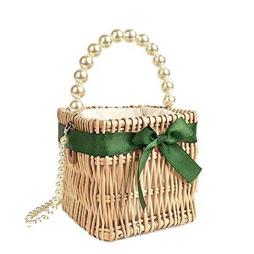 JiNBEiFA Bolso pequeño de paja de perlas, bolso de mujer de estilo salvaje, bolso cuadrado pequeño de ratán, bandolera, bolso de playa, 15x15cm