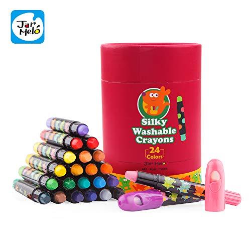 Jar Melo Washable Crayons -24 Colors; Non Toxic; 3 In 1 Effect (Crayon- Pastel- Watercolor); Slick; Twistables Gel Crayons; Barrel Crayons; Art Tools; Silky Crayons; Jumbo