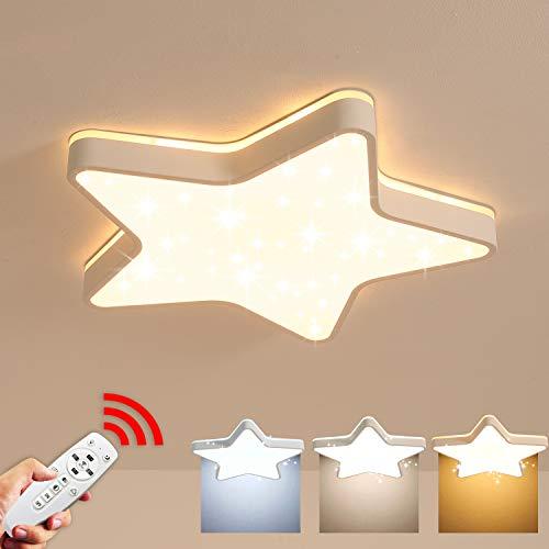 Lámpara de techo LED, efecto de luz brillante de estrella, Luz de techo de estrella de cinco puntas, 36W Ø45 cm, 3600Lm, Regulable con control remoto, para guardería, habitación infantil y dormitorio