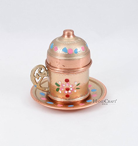 Traditional Design Handmade Copper Turkish Coffee Espresso Tea Cup with Saucer-(CC-111)