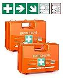 2 botiquines de primeros auxilios con contenido según DIN 13157, incluye práctico soporte de pared, 5 pegatinas y...