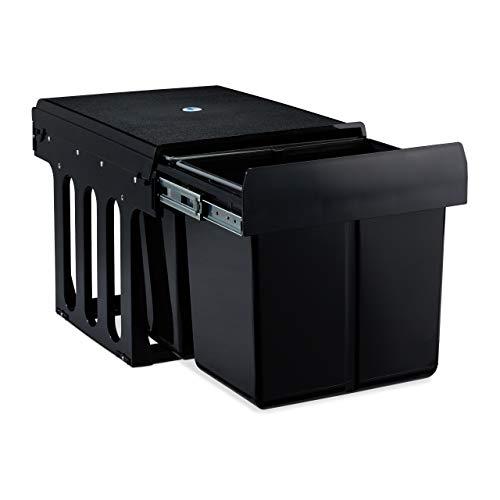 Relaxdays 10031539 Einbaumülleimer 2-fach, ausziehbarer Küchenmülleimer für Unterschrank, ABS, schwarz, 35 x 25,4 x 47,5 cm