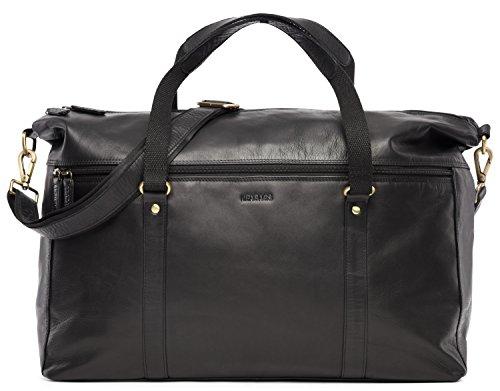 LEABAGS Monaghan Reisetasche aus echtem Büffel-Leder im Vintage Look - Dee Black