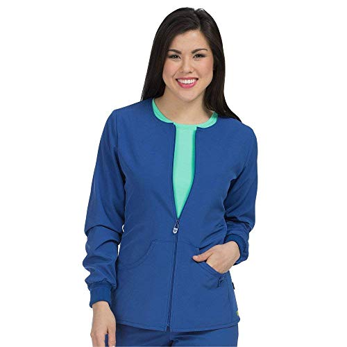 Med Couture Zip Front Warm Up Scrub Jacket for Women, Galaxy Blue, Medium