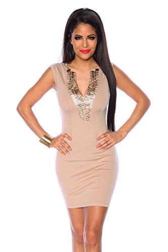 Cocktailkleid / Abendkleid / Kleid / Partykleid mit sehr schönen Ausschnitt in beige (Größe L (40))