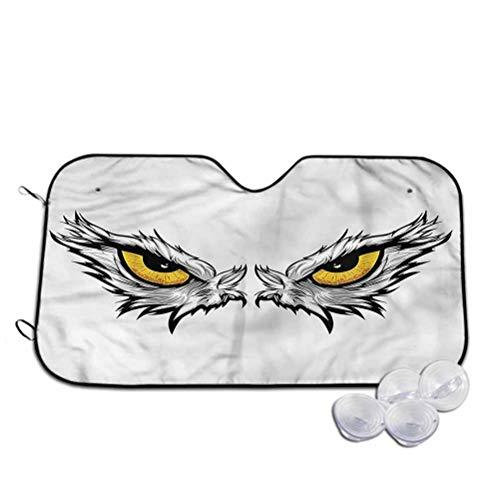 TableCoversHome Sun Visor Eye Sunshade to Keep Vehicle Cool Angry Gaze of Bird of Prey, 30 x 55 Inch, Car Accessories