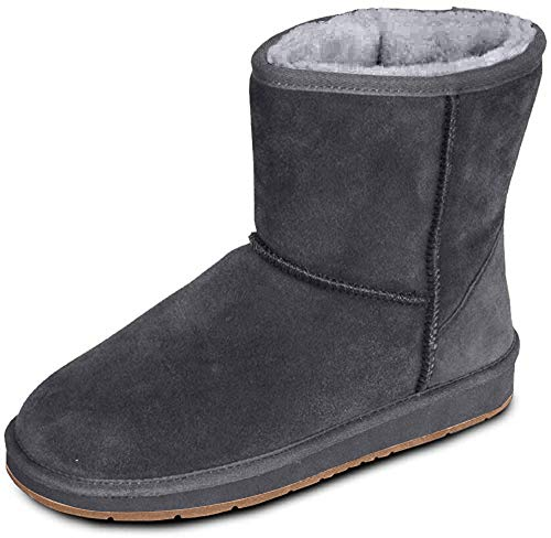 HEITMANN Damen Fell Boots Lammfell Stiefel, Fellstiefel, Fellboots, Camel, grau (42, anthrazit)