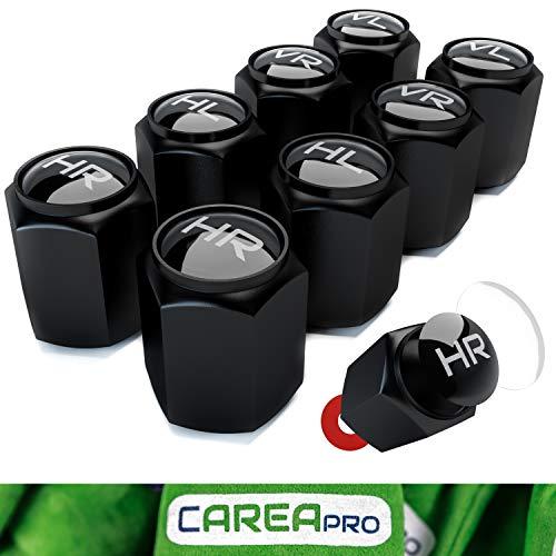 CAREApro ® Ventilkappen Auto mit Beschriftung (8er Set) im Bucket-Black-Look mit Dichtung - Intelligente Reifen Markierung - Rostfrei ABS-Kunststoff