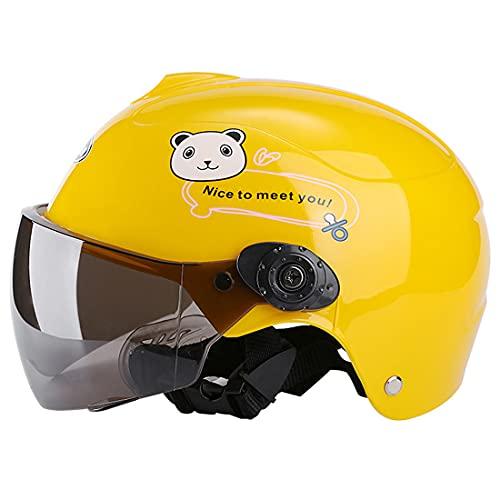 ZJM Casco De Bicicleta para Niños, Medio Casco De Motocicleta para Niños con Visera Solar HD, Casco De Seguridad Ligero Multideportivo para Exteriores para Niños De 2 A 7 Años (47-53 Cm),Amarillo